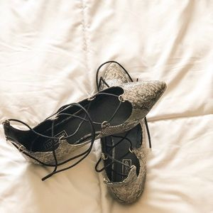 Topshop snakeskin lace-up flats